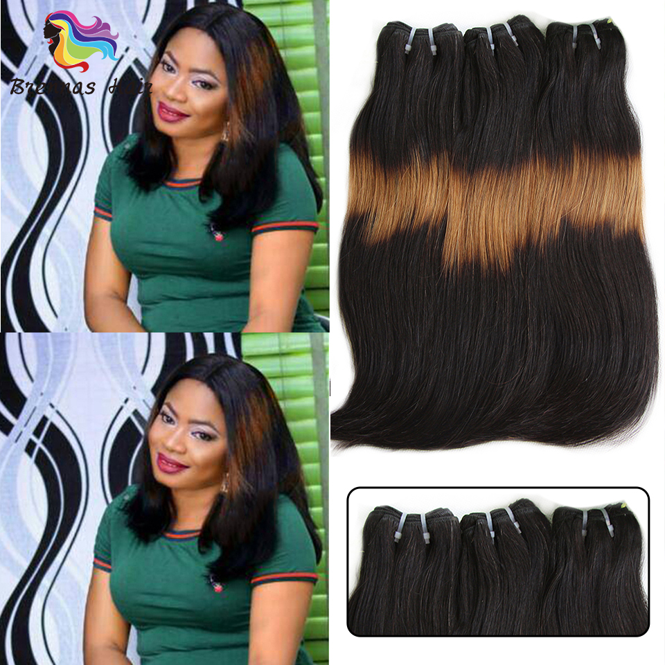 3 Tone Ombre Double Drawn Funmi Human Hair Straight Hair Curve Ends Brazilian Hair Bundles 1b271B Non-Remy Human Hair 3pcs/pack