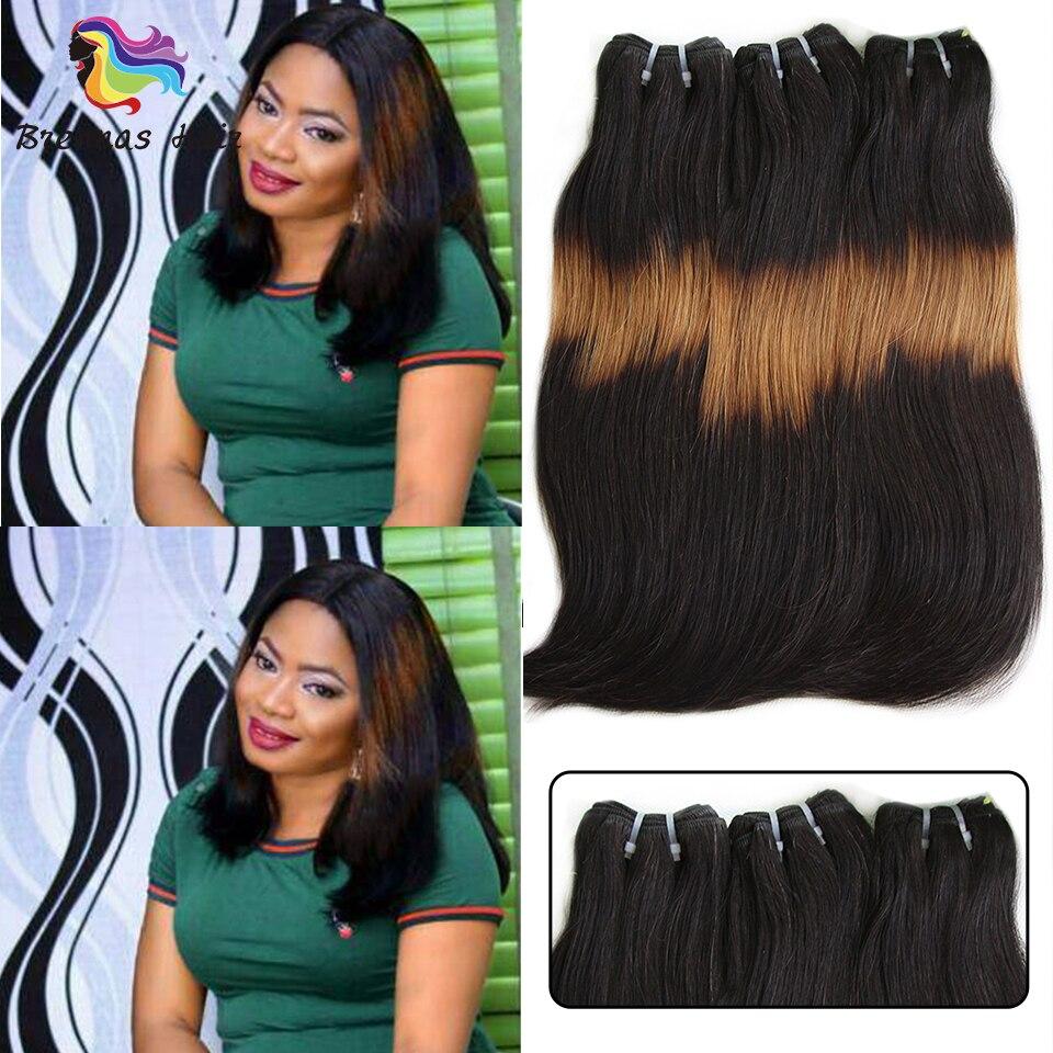 3 Tone Ombre Double Drawn Funmi Human Hair Straight Hair Curve Ends Brazilian Hair Bundles 1b271B Non-Remy Human Hair 3pcs/pack