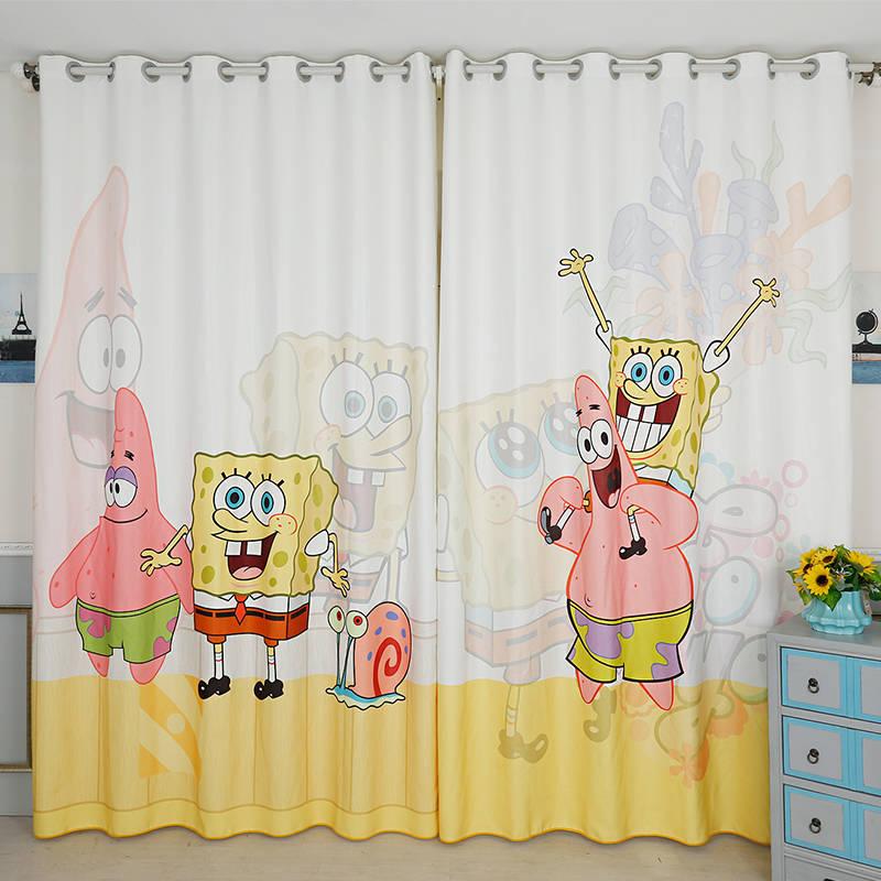 US $45.0 |Nach Maß 2x Tülle Fenster Gardinen Vorhang Kindergarten Kinder  Kinder Zimmer Fenster Dressing Tüll 200x260 cm Spongebob Schwammkopf-in ...