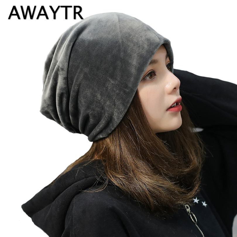 AWAYTR 2017 Autumn Winter New plush Cap Korean Solid Color Pile Hat Warm Skullies Heap Caps for Women Girls Beanies animal printing new plus side men and women with the double layer of warm ladies pile heap cap skullies hat knitted hat stripe