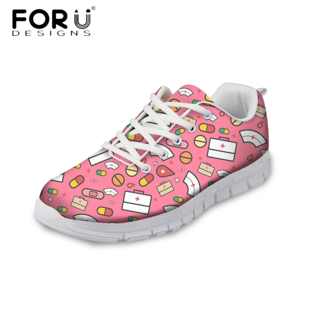 FORUDESIGNS Fashion Women Comfortable Flats Cute Cartoon Nurse Casual Air Mesh Spring Walking Shoes Breathable Sneakers for Girl forudesigns spring summer casual women sneakers cute happy chef pattern flats shoes woman fashion cartoon mesh shoes women flat