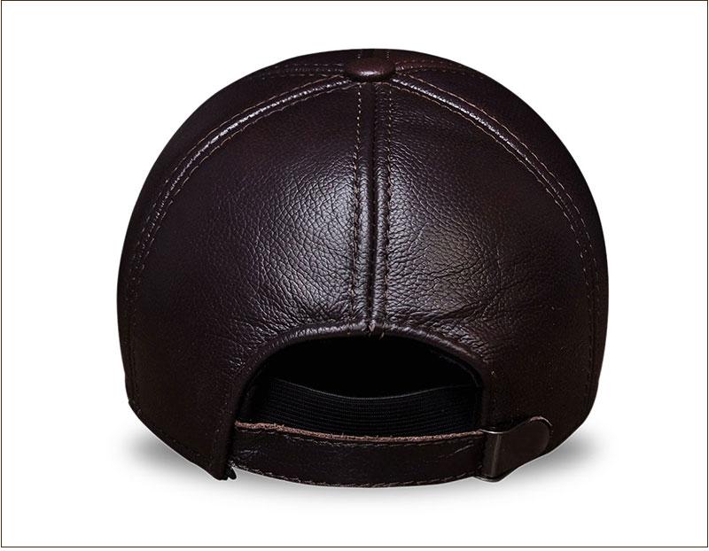 Genuine Leather Embossed Mens Baseball Cap - Brown Rear View