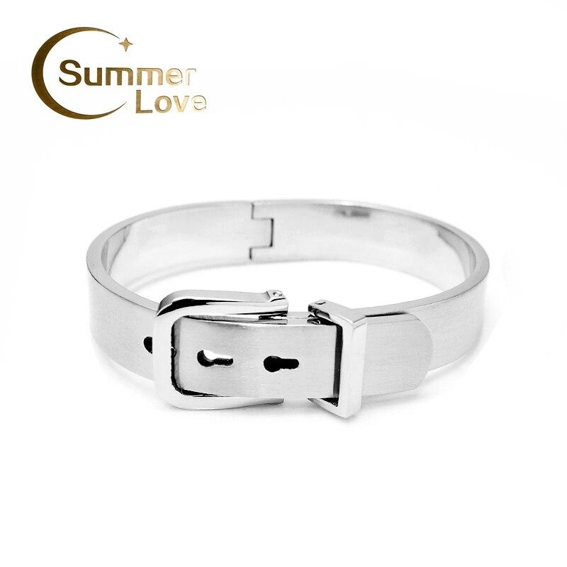 316L Titanium Steel Carter Belt Bracelet For Men Biggest Size Gold/silver-Plated Men's buckle Bracelets Belt Cuff Bangles single stripy gold plated cuff bracelet