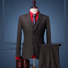Pre Sale men formal business wedding groom suit sets brown stripes suit coat+vest+suit pant men slim fit prom suit sets