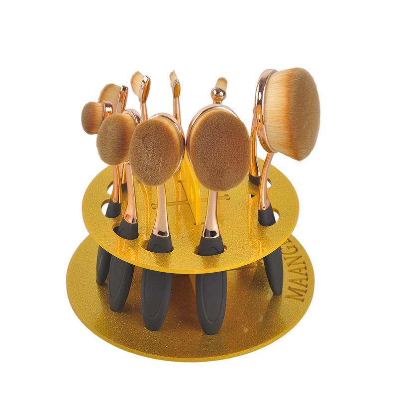 1pcs Gold 10 Grids Acrylic Toothbrush Oval Makeup Brushes Display Holder Stand Storage Boxes Organizer Brush Showing Rack makeup allen roth brinkley handsome oil rubbed bronze metal toothbrush holder