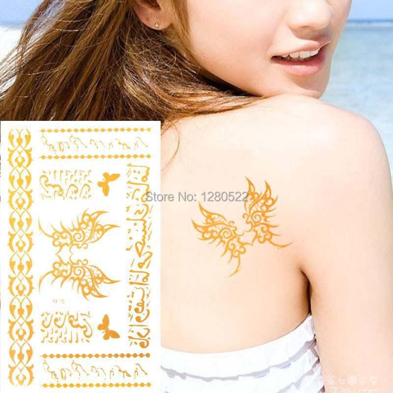 ᗐ3 Hojas Paty Temporal Tatuaje árabe Tatuagem Mariposa Brillo