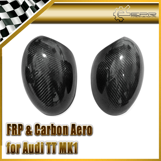 Car-styling For Audi TT MK1 1998-2006 (Type 8N) Carbon Fiber Mirror Cover (Stick on type) Glossy Fibre Side Accessories Racing