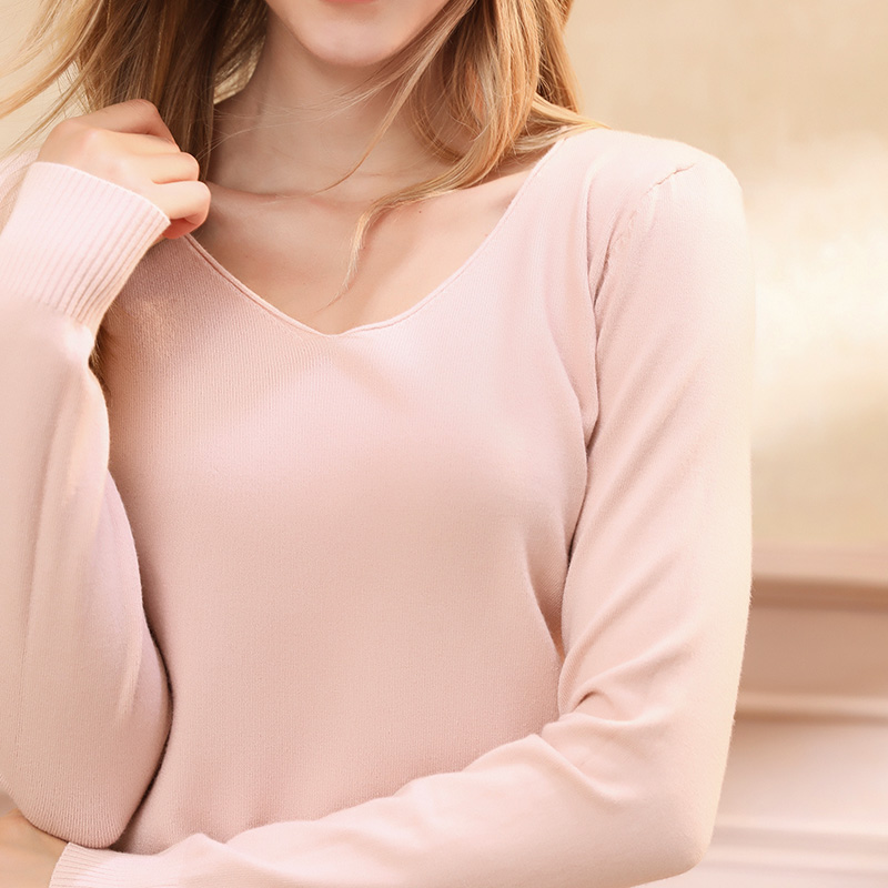 Autumn and winter new women 39 s solid color large V neck sweater bottoming cashmere sweater wearing a pullover sweater in Pullovers from Women 39 s Clothing