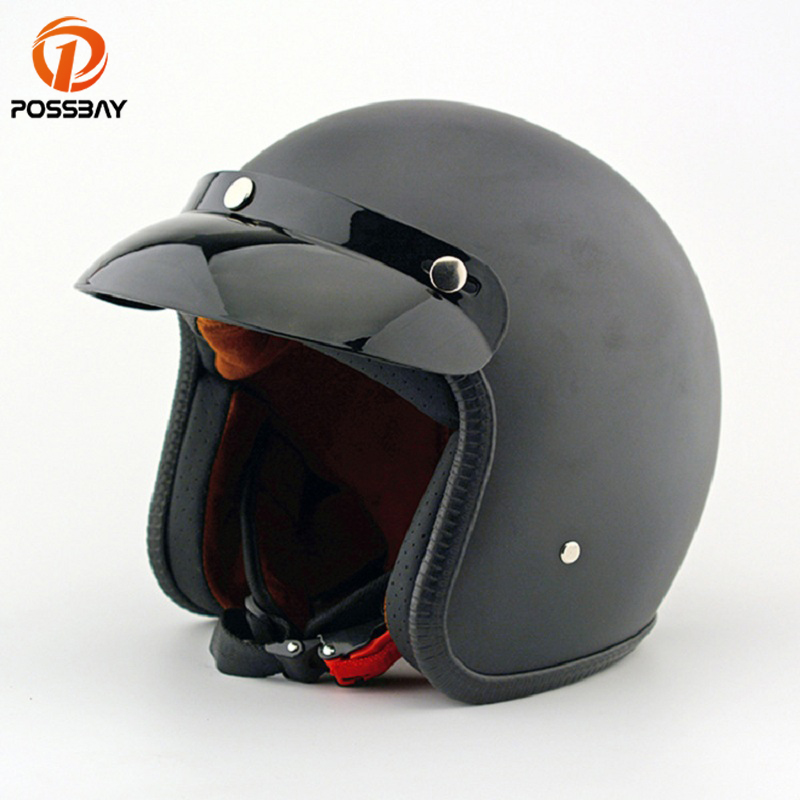 POSSBAY Open Face Motorcycle Half Helmet Black ABS Leather Moto Casque Retro Man Motorbike Motocross Casco for Harley Helmets 2016 newest netherlands authorization beon retro air force harley style half face motorcycle helmet b 100 of abs matte black cat