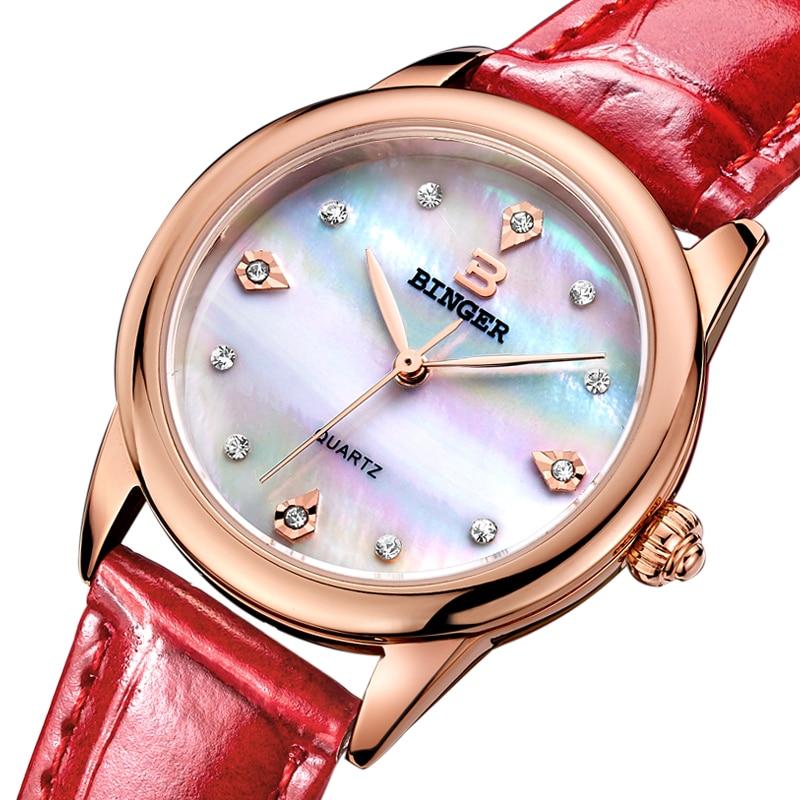 Switzerland Binger Women s watches luxury quartz waterproof clock shell dial genuine leather strap Wristwatches BG9006