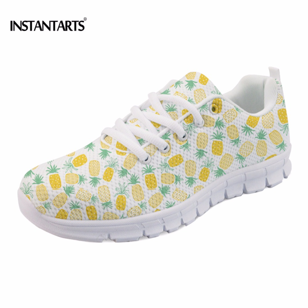 INSTANTARTS Women's Casual Flat Shoes Fashion Fruit Pineapple Pattern Mesh Sneakers Breathable Female Light Flats Big Size 35-43 instantarts casual women s flats shoes emoji face puzzle pattern ladies lace up sneakers female lightweight mess fashion flats