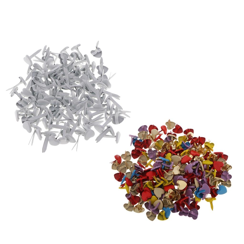 200x Metal Heart Head Brads Paper Fastener for Cardmaking Scrapbook White