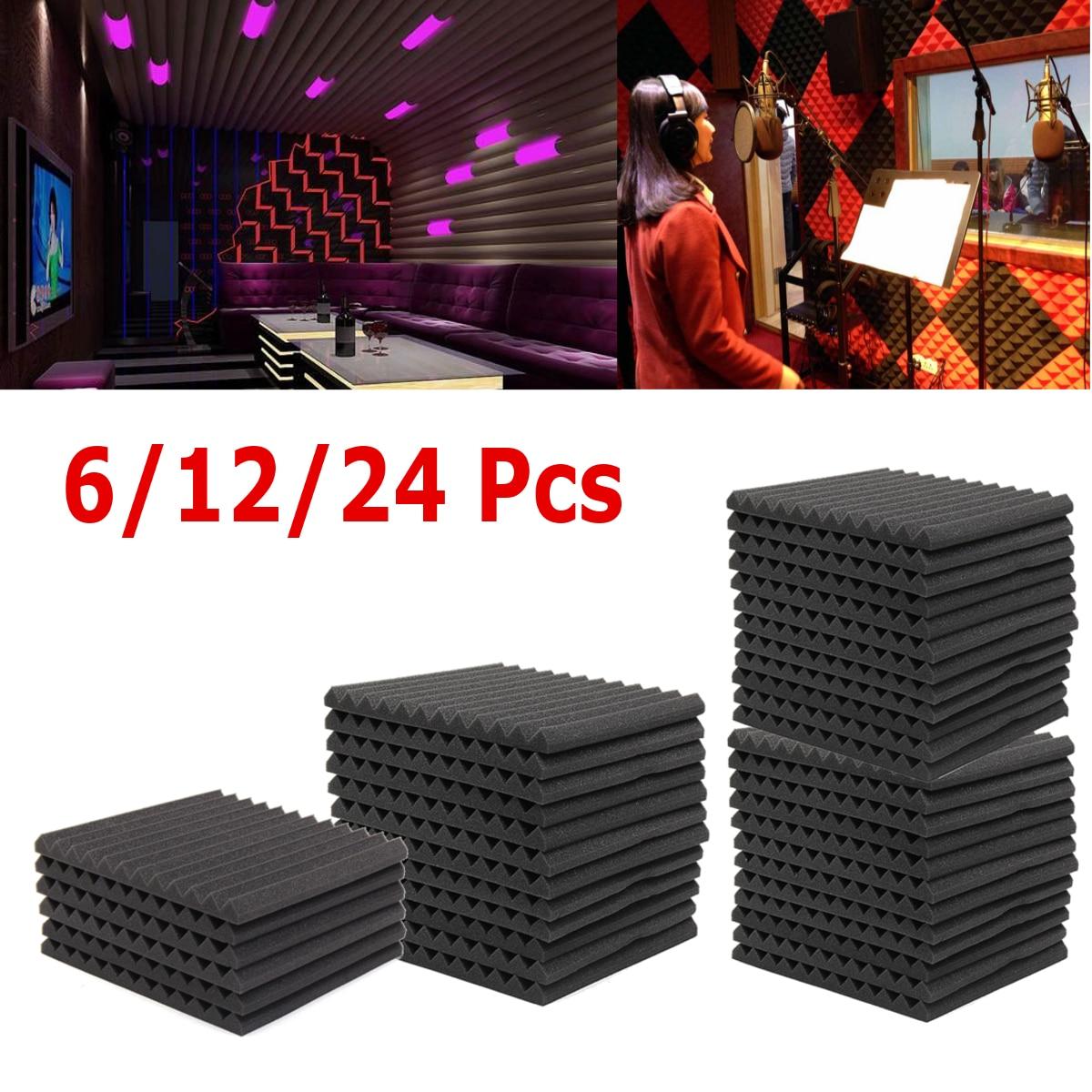 6Pcs/12Pcs Soundproofing Foam Acoustic Foam Studio Absorbing Wedge Foam Tiles Wall Panels for KTV Sound Studio 300*300*25mm bqlzr 12 pieces light yellow 30x30x2 5cm home deco sound absorbing panels