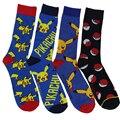 1 par 100% de algodón Nueva Moda de Harajuku Calcetines de Dibujos Animados Pokemon Pikachu de la alta calidad de Los Hombres calcetines Hasta La Rodilla de La Novedad Ocasional Meias