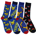 1pair 100% cotton New Fashion Harajuku Pokemon Pikachu high quality Socks Cartoon Men's Knee Novelty Casual tube Socks Meias