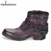 Mabaiwan Neue Lila Handgemachten Frauen Schuhe Punk Stil Stiefeletten Genuien Leder Herbst Booties Martin Militärboot Frauen Wohnungen