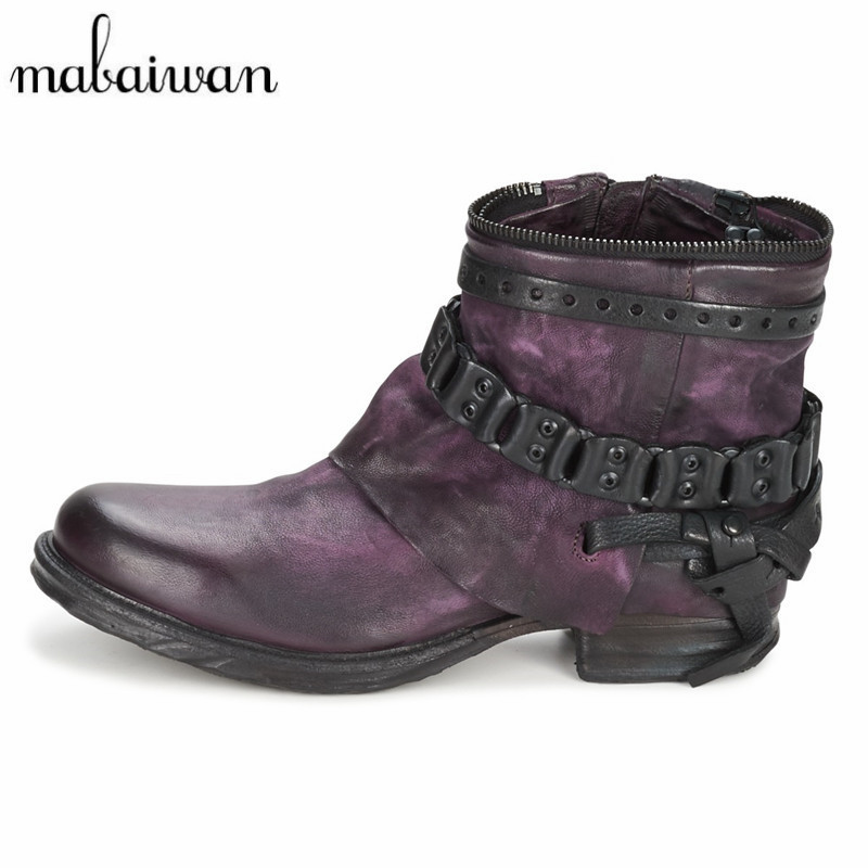 Mabaiwan New Purple Handmade Women Shoes Punk Style Ankle Boots Genuien Leather Autumn Booties Martin Military Boot Women Flats ...