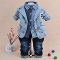 De los bebés que arropan otoño niños guapos de la historieta que arropan sistemas del bebé de la chaqueta + camiseta + jeans 3 unids ropa conjunto