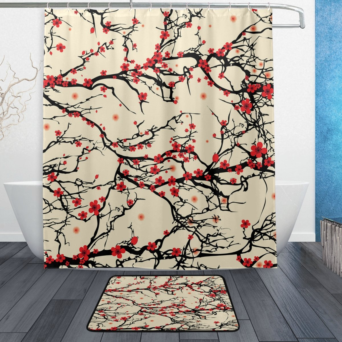 Vintage Asian Style Flower Tree Waterproof Polyester Fabric Shower Curtain with Hooks Doormat Bath Floor Mat Bathroom Home Decor