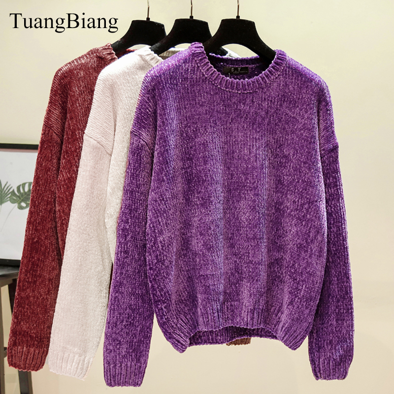 Chic Vintage Chenille Cashmere Women Full Sleeve Gold Velvet Sweaters Winter Ladies Solid Color O-Neck Loose Female Jumpers 2019