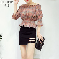 GUUZYUVIZ Sexy Vintage Off Shoulder Tops With Bodycon Skirt Casual Slim Chic Two Piece Set Summer