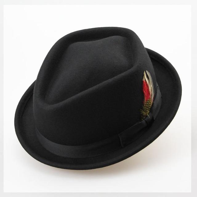 Sombrero de invierno para hombre de Jazz de fieltro de lana australiana  pura 60 cm Fedora a0d40f3f4e9