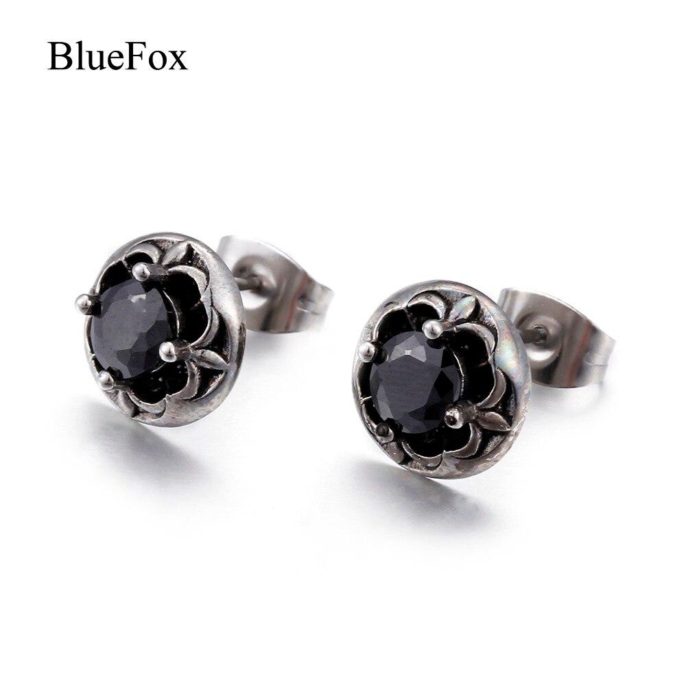 Fashion Punk Silvery Titanium Stainless Steel Flower Crystal Stud Earrings for Women Men Chic Charm Zircon Earrings Jewelry Gift