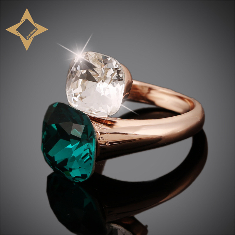 Gorgeous Double Square Stone Bypass Rings Rose Gold Tone Mount Two Color Clear Green Stone Cocktail Rings for Women Dinner Party