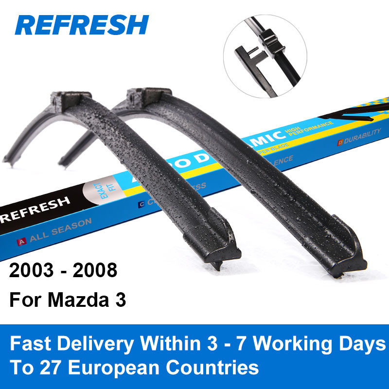 REFRESH Wiper Blades for Mazda 3 Mk1 Europe Model 21 19 Fit Side Pin Arms Only 2003 2004 2005 2006 2007 2008