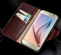 TOP Luxury Fashion Genuine Leather Flip Mobile Phone Case For Samsung Galaxy S6 G9200 Wallet Stand