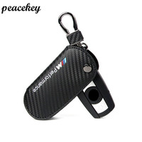 Carbon Fiber Leather Car Key Sticker Case Cover For Bmw X1 X5 3 5 Series For