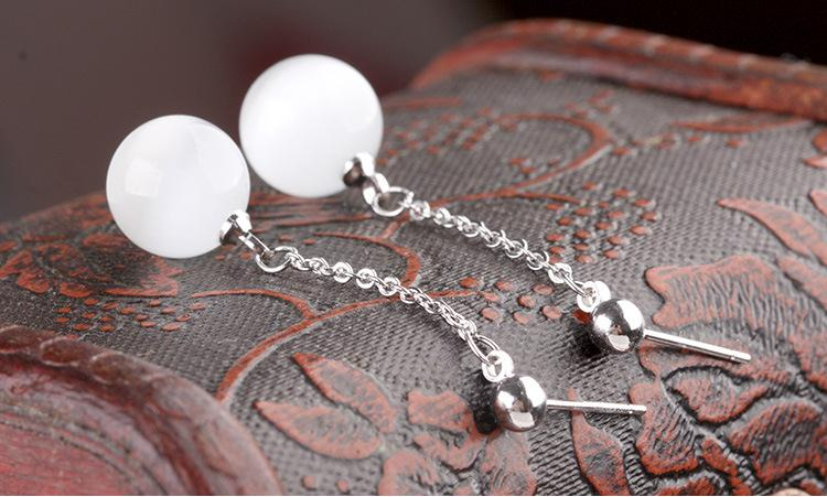 100 925 sterling silver hot sell opal stone ladies tassels stud earrings jewelry birthday gift wholesale drop shipping cheap in Stud Earrings from Jewelry Accessories