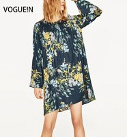 VOGUE N New Womens Ladies Summer Floral Print Long Sleeve Mini Casual Dress Size SML Wholesale