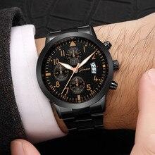 Fashion Men Quartz Watch Sport Military Stainless Steel Watches