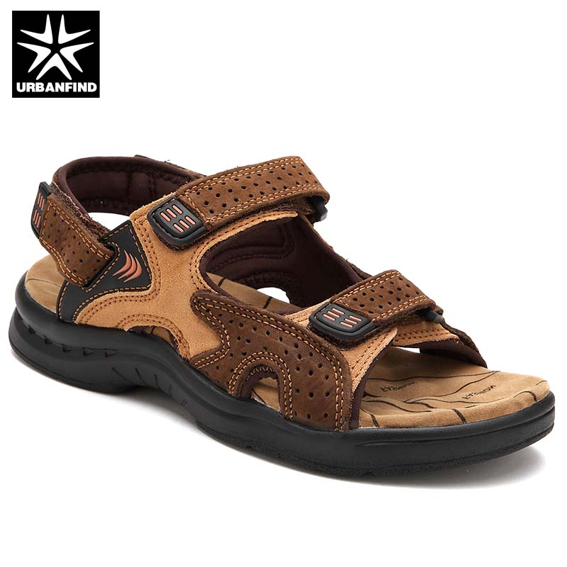 Genuine Leather Men Classic Summer Sandals Size 38-44 Retro Style Male Casual Beach Shoes 3 Colors Black Yelow Brown bbk bx107u yelow black