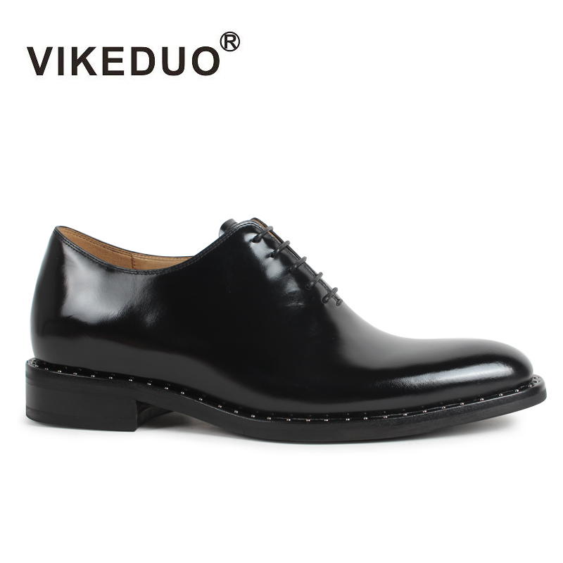 2018 New Vikeduo Classic Black Mens Oxford Shoes Flat Handmade 100% Genuine Cow Leather Lace Up Luxury Formal Original Design 2017 men flat shoes vintage retro superstar custom mens derby shoes fashion luxury lace up real genuine leather original design