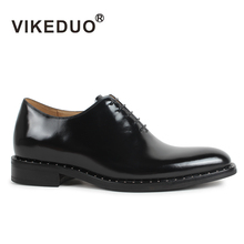 2019 New Vikeduo Classic Black Mens Oxford Shoes Flat Handmade 100% Genuine Cow Leather Lace Up Luxury Formal Original Design 2018 sale vikeduo handmade mens loafer black suede 100