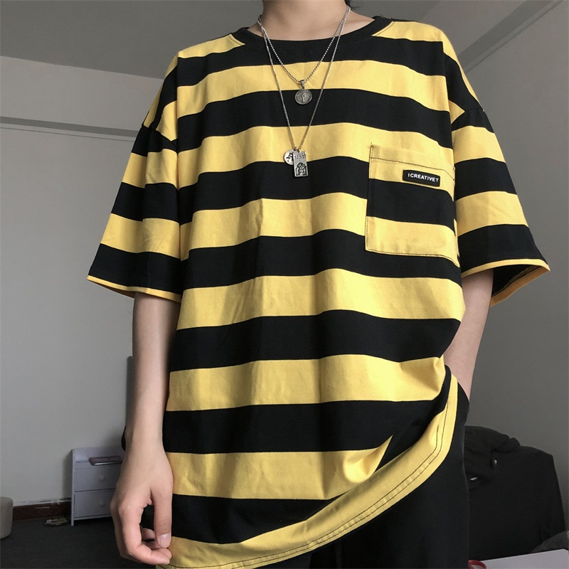 T-Shirt Short-Sleeve Letter Oversized Pockets Striped Minimalist Korean-Style Plus-Size