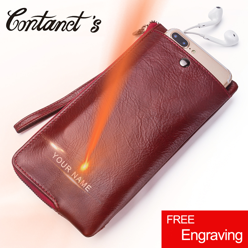Contacts New Genuine Leather Woman Wallets Long Clutch Female Purse Brand Design Phone Bag For Female 2018 Fashion Coin Wallet