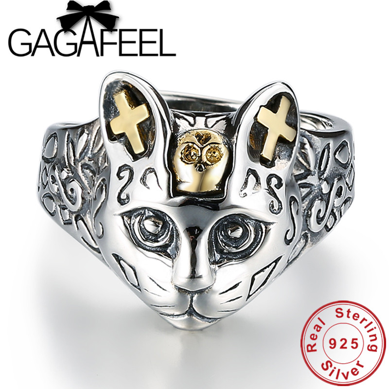 GAGAFEEL 100% Real 925 Sterling Silver Jewelry Retro Cat Finger Rings for Women Men Party Gifts Animal Ring Resizable Drop Ship edi trendy swan shape animal 100% 925 sterling silver rings for women ctue jewelry christmas gifts