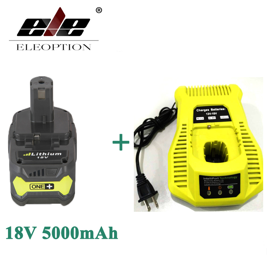 ELEOPTION 18V 5000mAh Li-Ion Rechargeable Battery For Ryobi P108 RB18L40 P2000 P310 For Ryobi ONE+ BIW180 With Charger eleoption 2pcs 18v 3000mah li ion power tools battery for hitachi drill bcl1815 bcl1830 ebm1830 327730