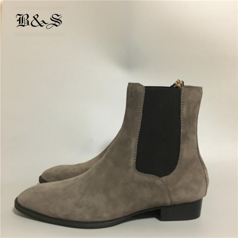 Black& Street New Handmade High Top Slim Suede Leather Gray Chelsea Men Boots Denim Kanyewest Boots high end handmade customized high top luxury demin boots men genuine leather personalized suede folds chelsea boots