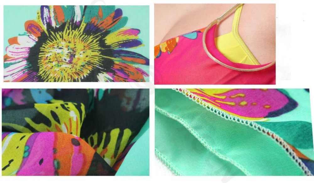 Сексуальная Женская пляжная юбка с v-образным вырезом и подсолнухом бикини Солнцезащитная внешняя просторная шаль пляжное платье