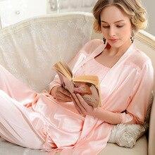 Fashion Sexy Lace Silk Satin Sets 3 Piece Women Pajama Sets Women's Sleepwear Silk Satin Pajama Sets lady Homewear