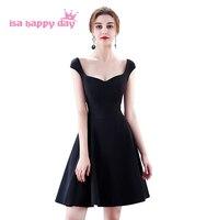 vestidos de festa sexy short woman elegant modest black color spaghetti staps cocktail ball dresses 2019 girl dress H4216