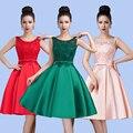 2016 Nuevas mujeres de la Llegada Vestidos de Partido de Coctel Corto Vestido de Encaje-up Sexy V-apertura Volver Arco de Encaje vestido de Envío Libre SC107