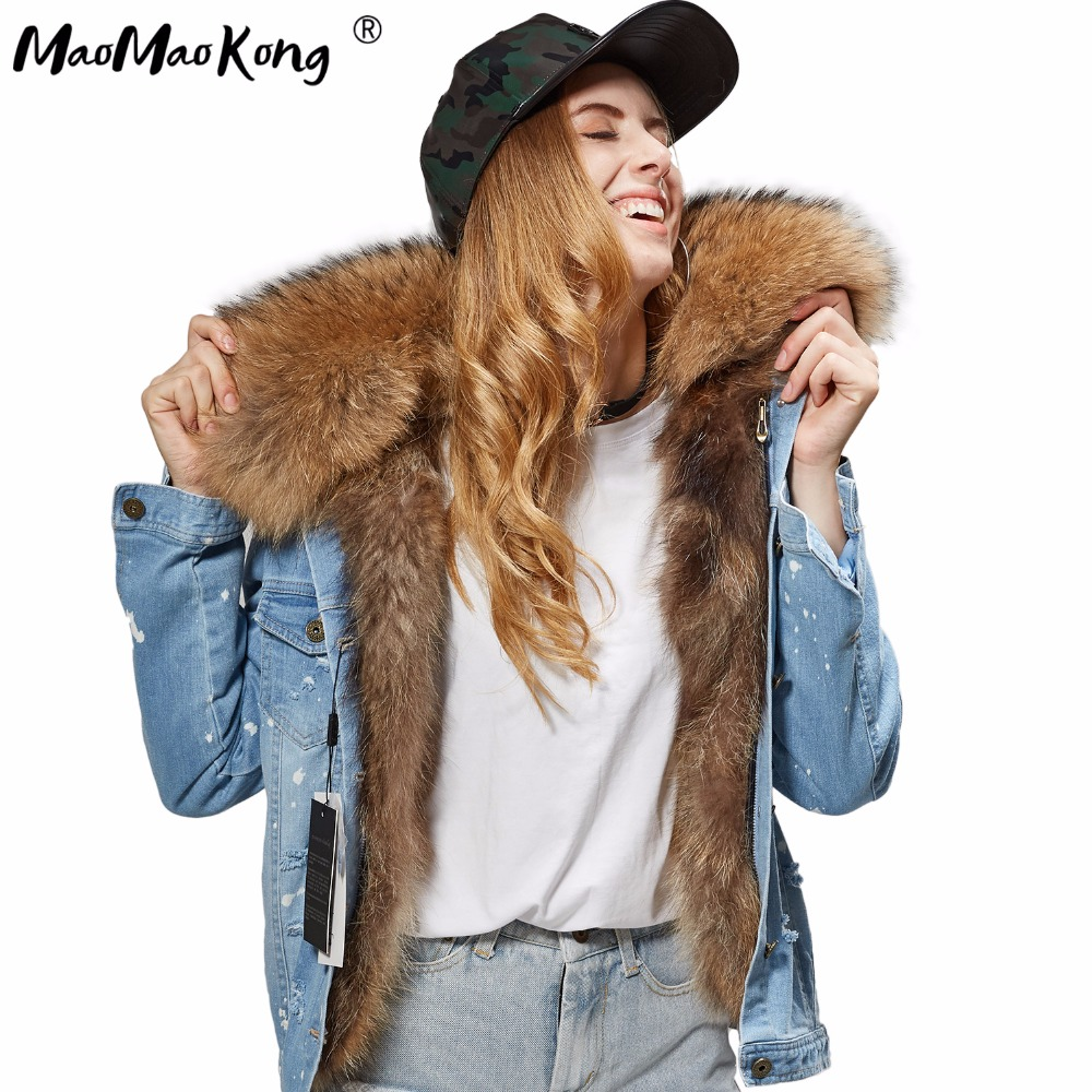 MAO MAO KONG 2017 Women s fashion dark blue denim fox fur short jacket coat 100