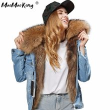 MAO MAO KONG 2017 Women's fashion dark blue denim fox fur short jacket coat 100% true raccoon fur collar bomber jacket DHL(China)