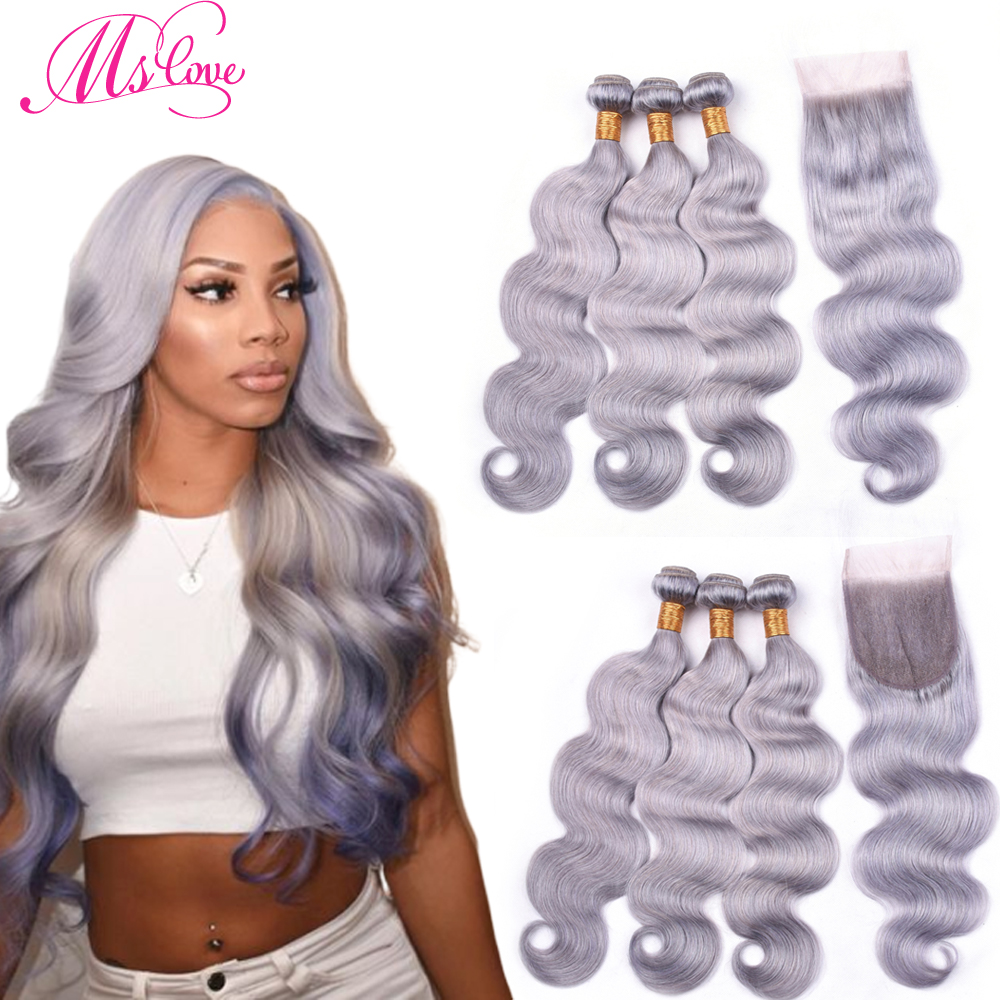 Ms Love Pre Colored Grey Bundles With Closure Body Wave Peruvian Hair With Closure Remy Human