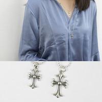 Vintage Cross 925 Sterling Silver Necklace Women Collier Femme Retro Long Necklaces Pendants Joyas De Plata